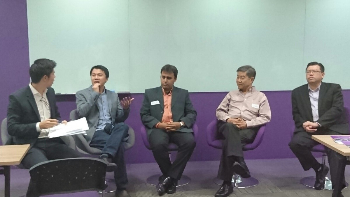 Panel Session with (L-R) – Fabien, Charlie, Sunil, Bill, Wayne