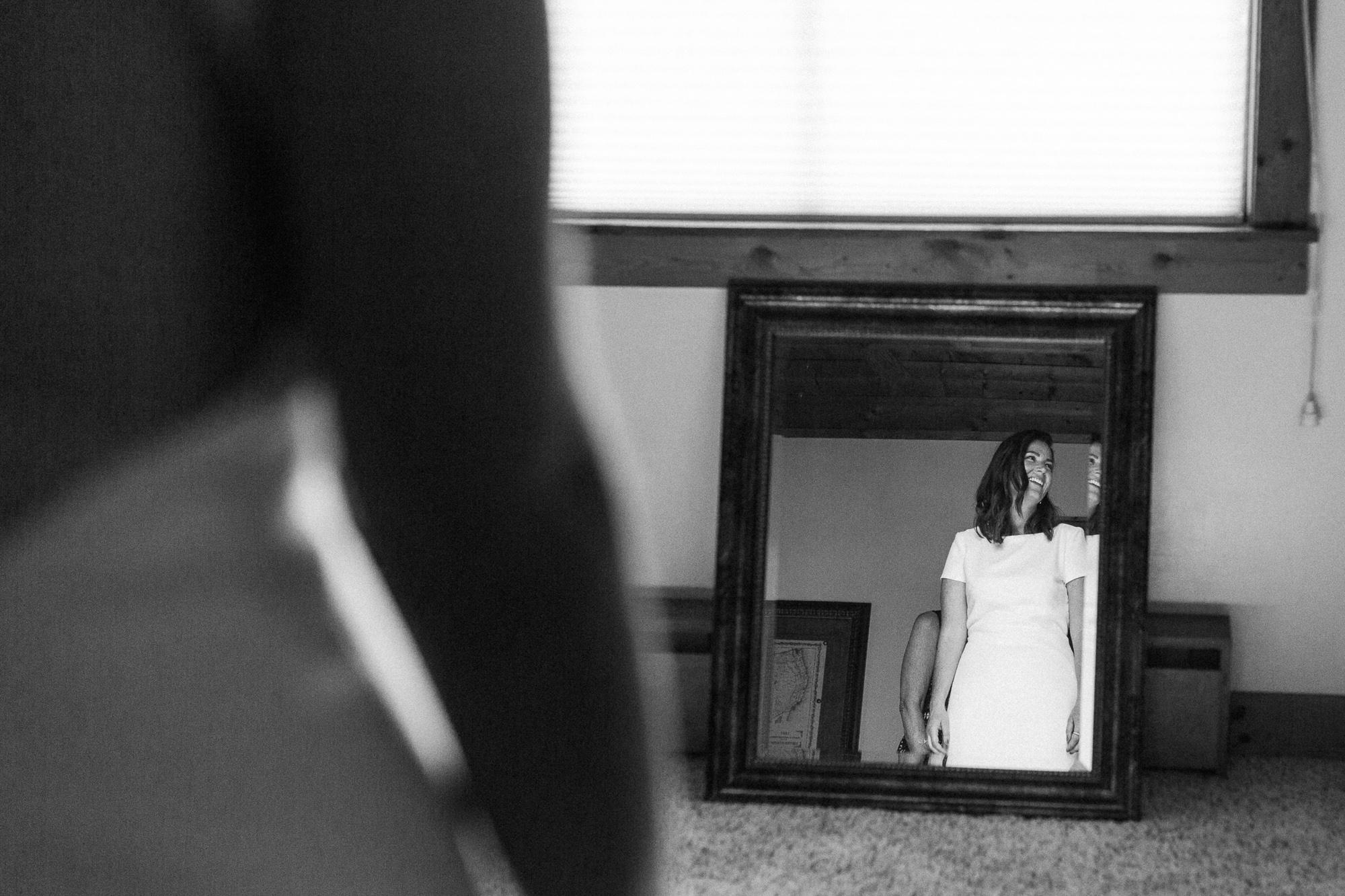 Bride Looking in Mirror.
