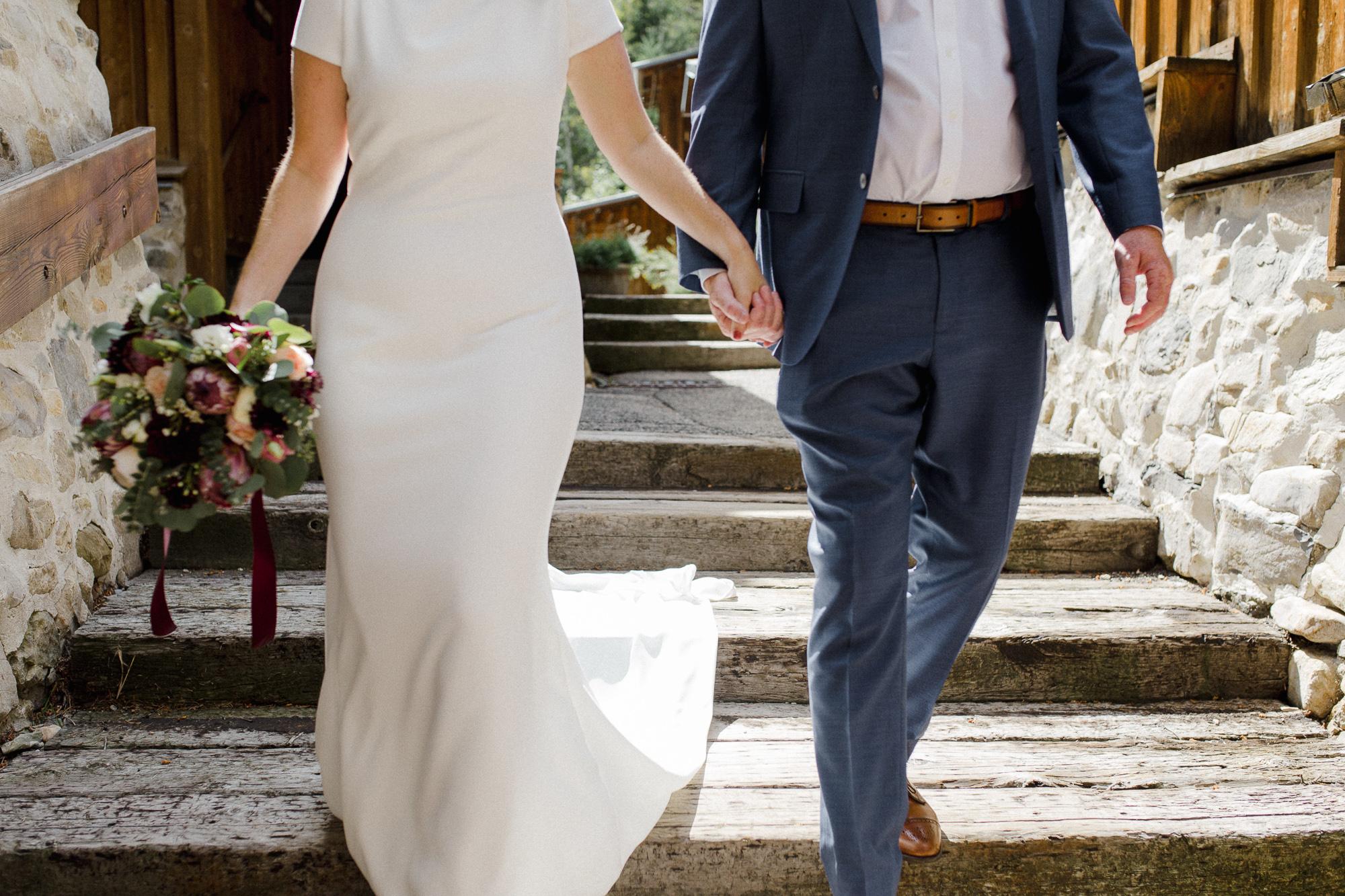 Bride and Groom Walking.