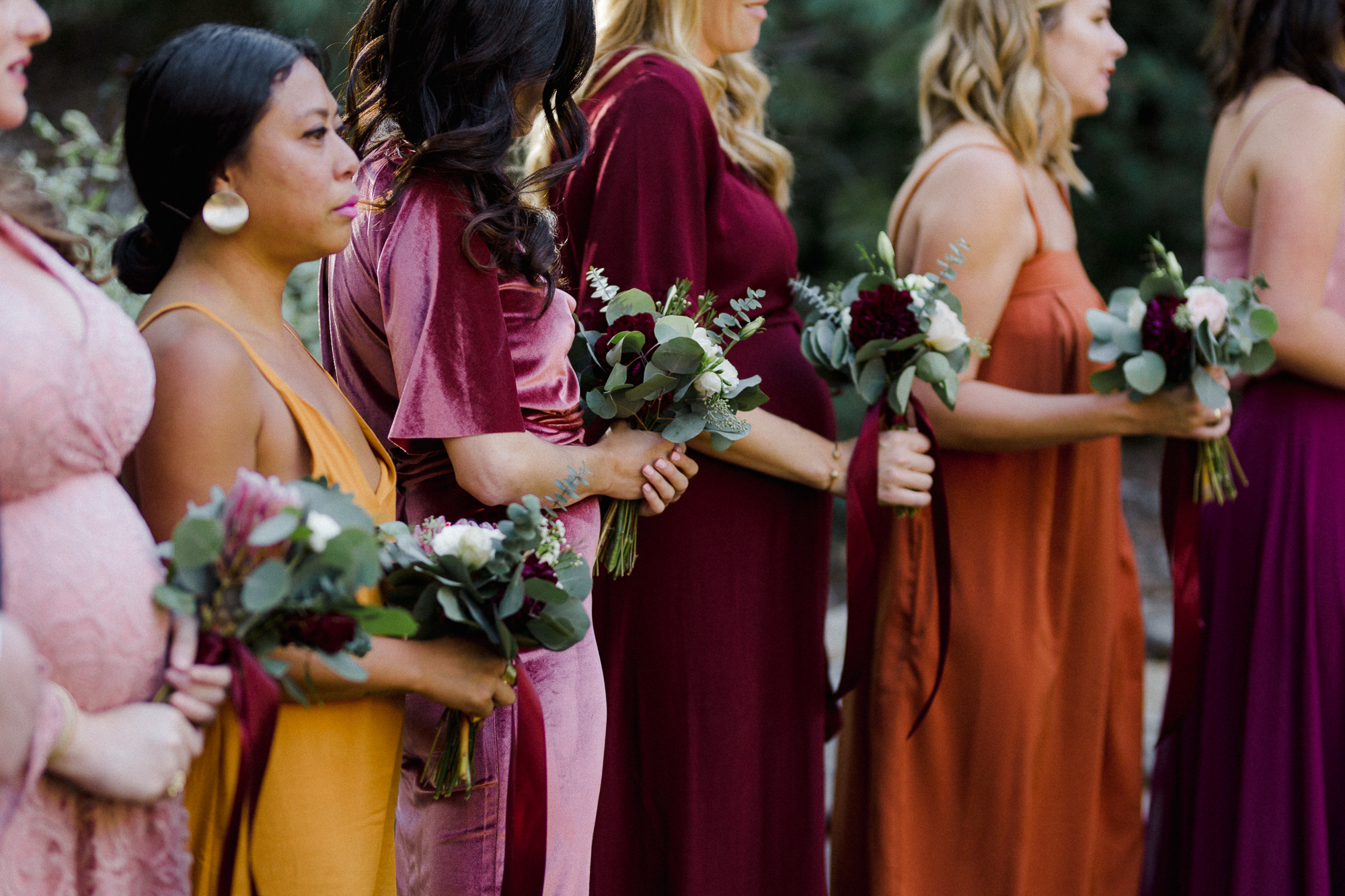 Bridesmaids Holding Flowers.