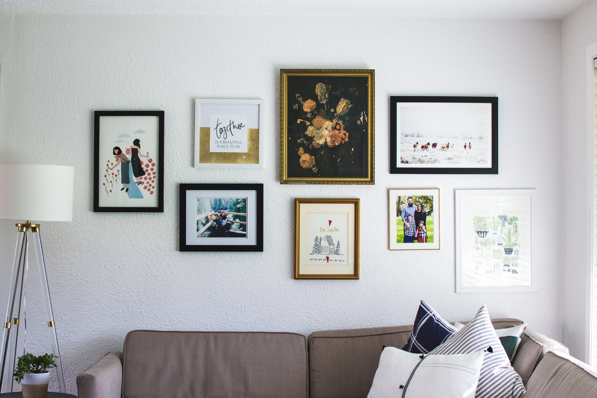 I love gallery walls but with our low ceilings I had to really pare down my collection. I'm really enjoying how this all turned out and the sweet pieces I was able to use!