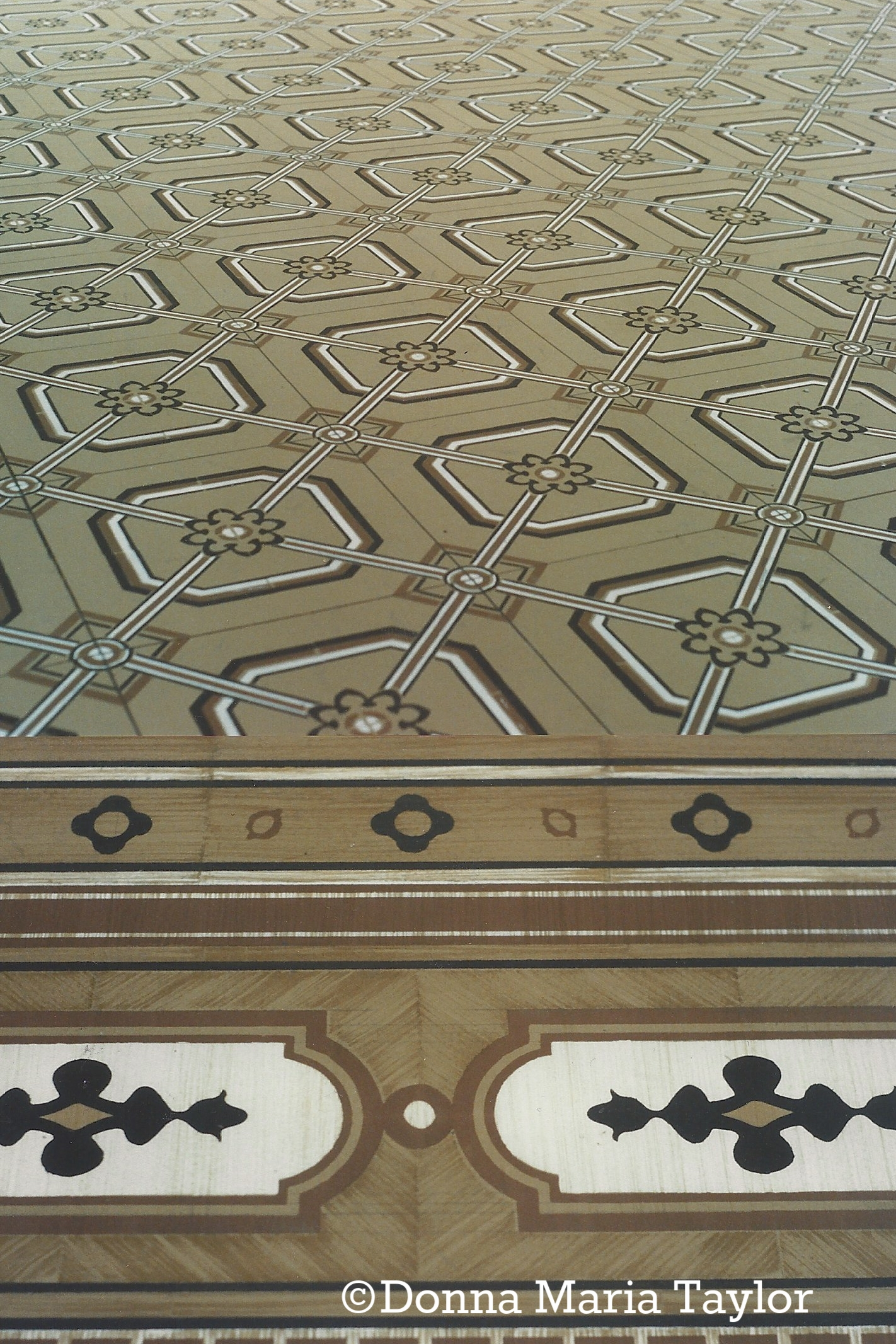 Painted floor (hand stenciled) for 'Horse and Carriage'