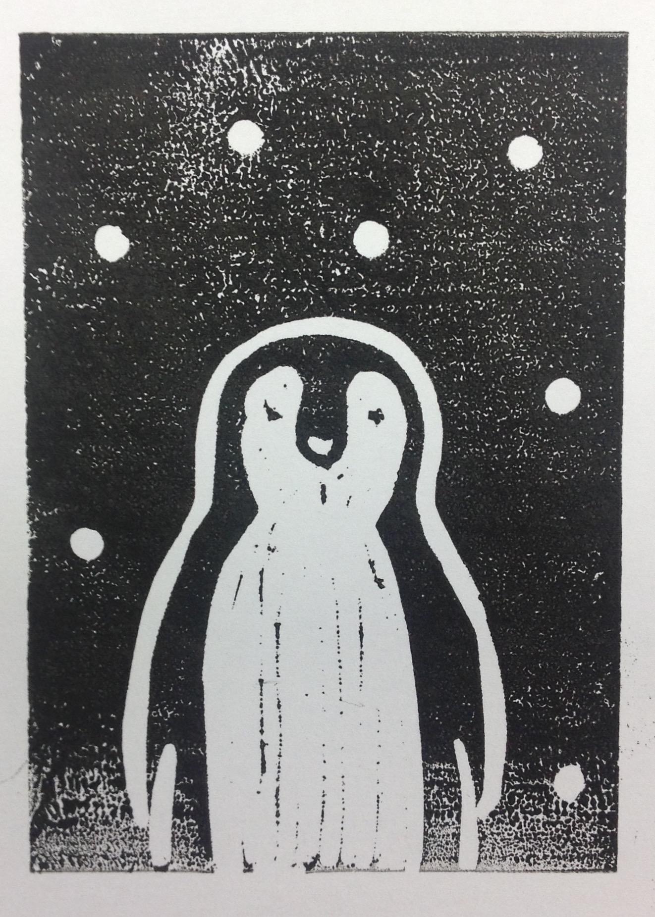 Lino print pengiun