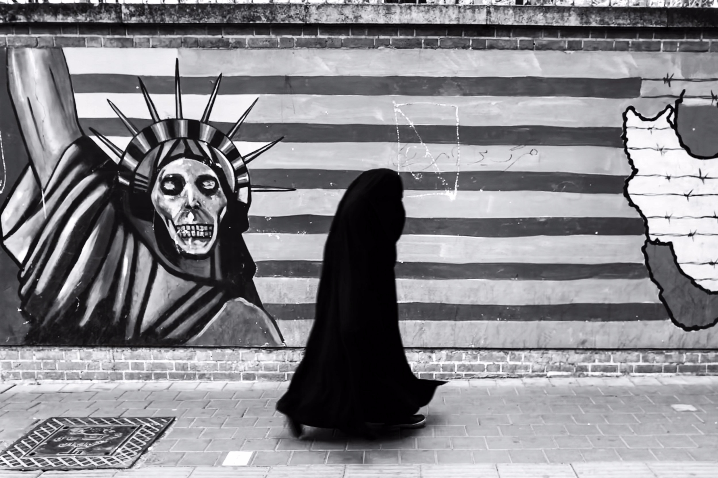 The propaganda painted on the outer wall of the former U.S. Embassy at Tehran, Iran.