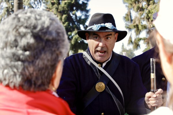 Union soldier, John Moreno speaks to visitors, sharing his knowledge of American Civil War, Oct.21.
