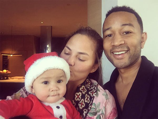 Chrissy and John Legend with baby Luna