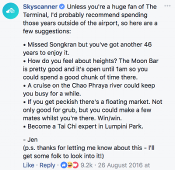 Great example of customer support of Skyscanner - Jen answered a a customer request on Facebook