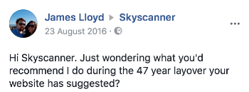 Skyscanner customer experience on social media with 47-year layover