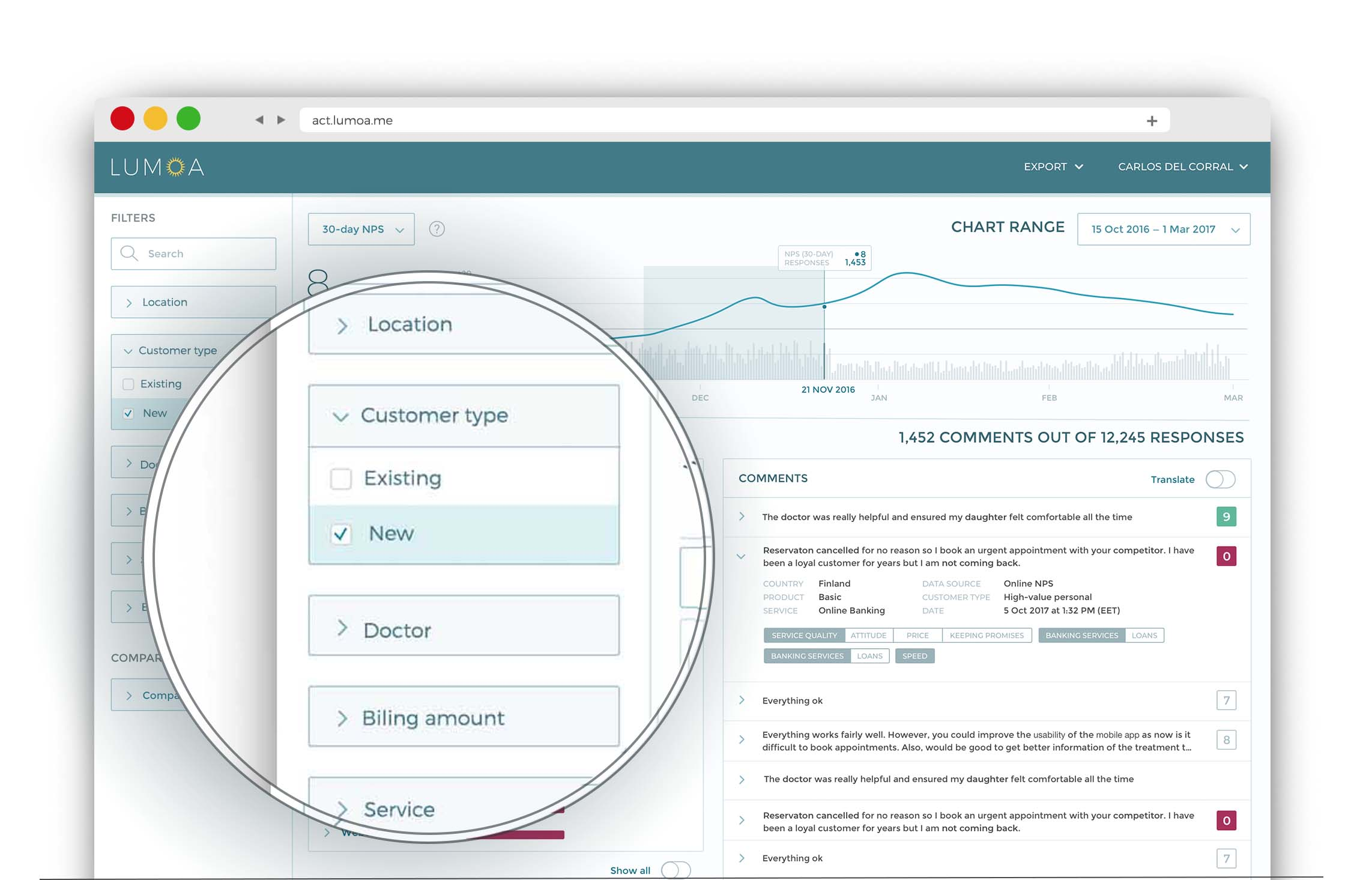 Cegment your customer feedback with the filters of your choice