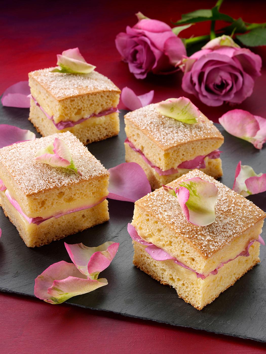 Rose petal sandwich cakes