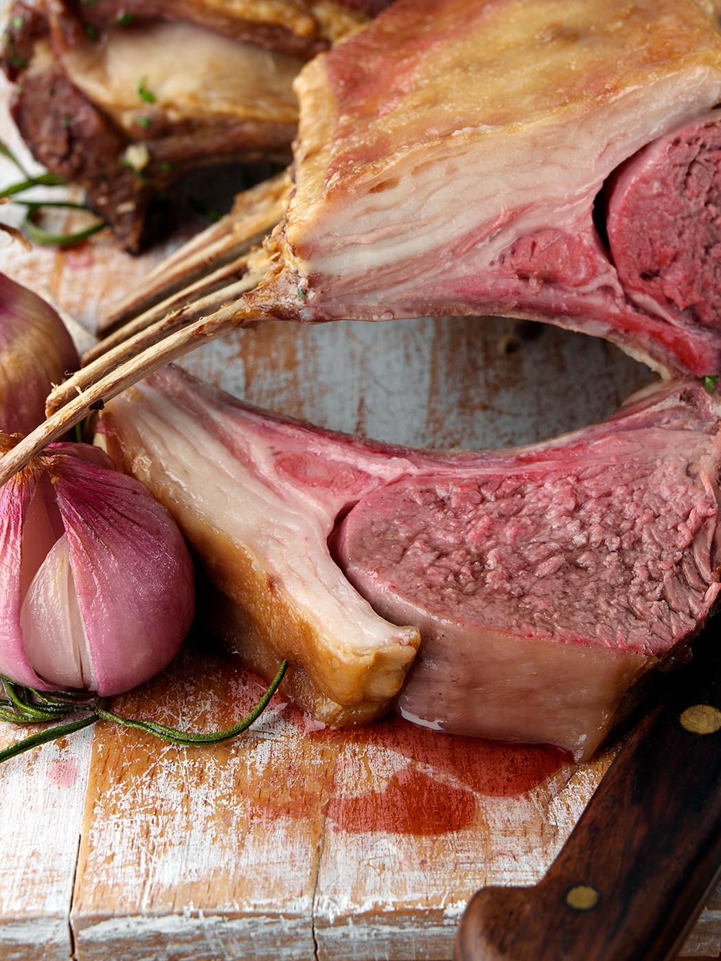 Roast rack of lamb chops