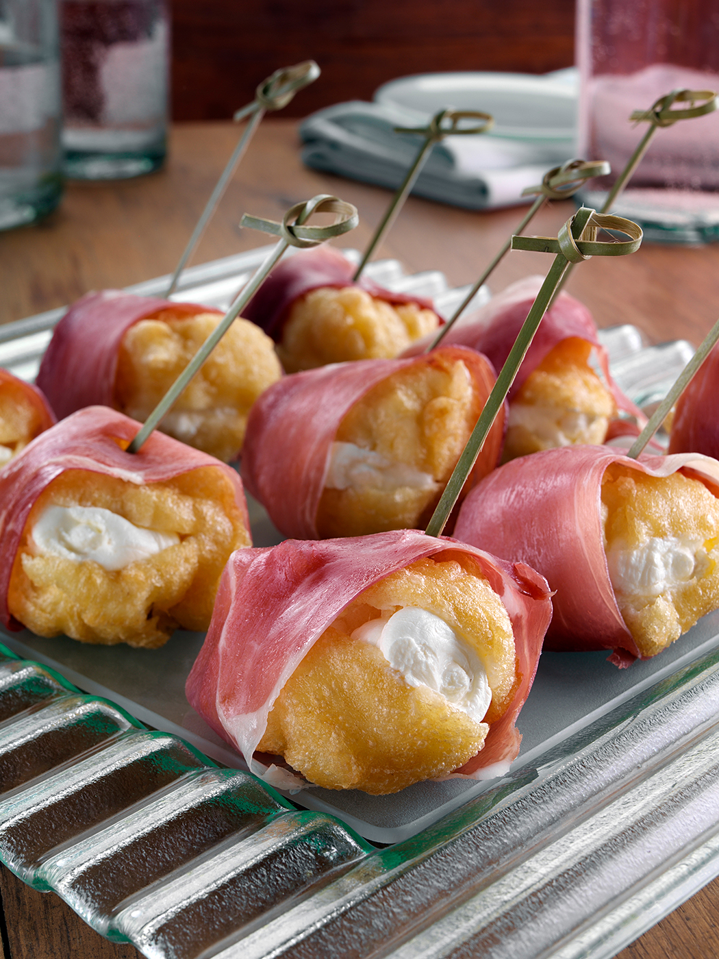 Italian zeppole wrapped with prosciutto