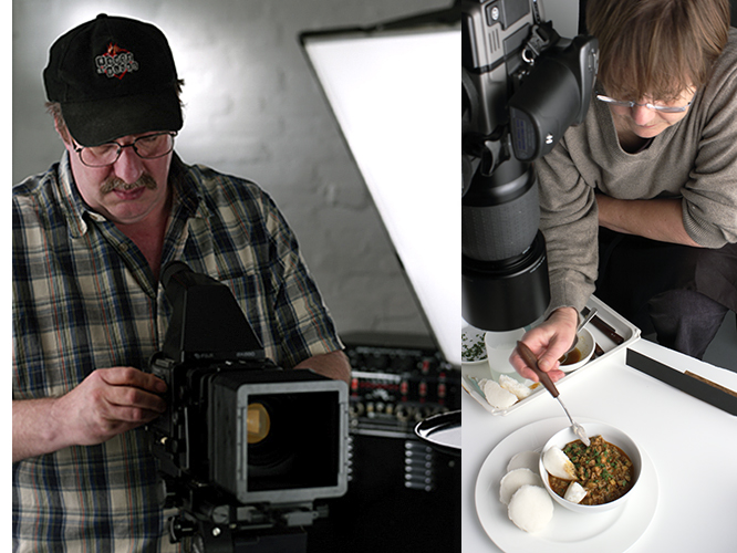 Tim using the Fuji GX680 and Zoe styling food beneath the Hasselblad