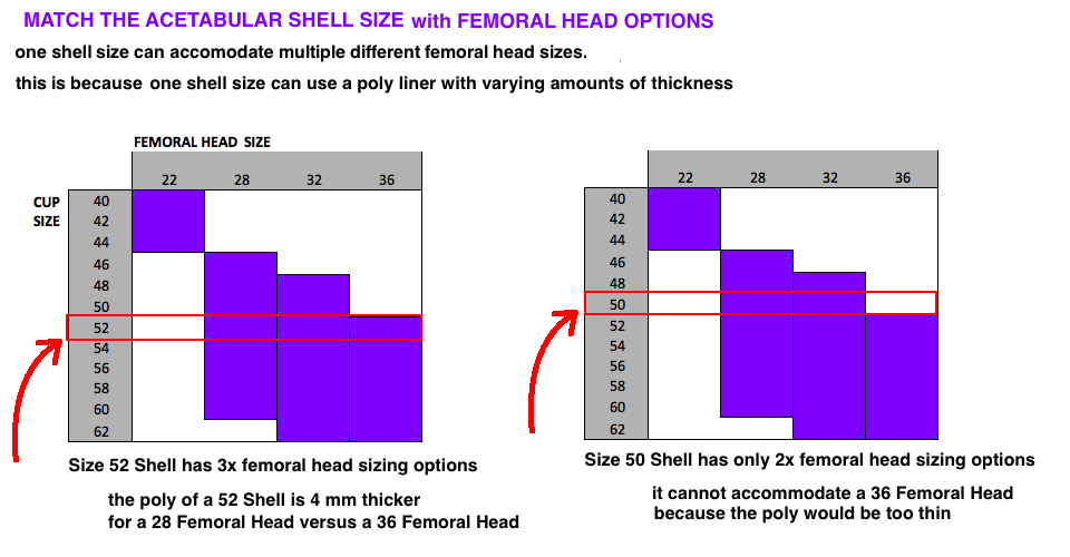 Chart Showing Size of Femoral Heads that Fit Size of Acetabular Shells