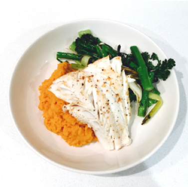 Cod & Carrot Mash - Served with spring greens
