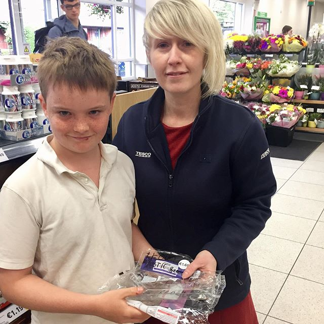 Very proud of My eco young man Raif Duncan in his crusade to stop the plastic pollution. He handed back yesterday's plastic to Tesco in Sandymount Dublin. While Antoinette was very attentive I his concerns she used the party line saying that Tesco had big plans to stop the plastic but our concern is that it's all too little, too late. Then we saw the bananas - come on Tesco - we have had enough. Raif we are so proud of you and keep up your great work. . . #ourplasticfeedback #nomoreplastic #nomoreplastics #tesco #tescoireland #tescosandymount #tescodublin #tescofood #plasticocean #ourplasticfeedback #plastic #lizbonnin #hughfearnleywhittingstall #waronplastic @tescofood @tesco_ireland @tescoirl @urban_deriver @itsanitarani #planet #saveourplanet @dancingfoody