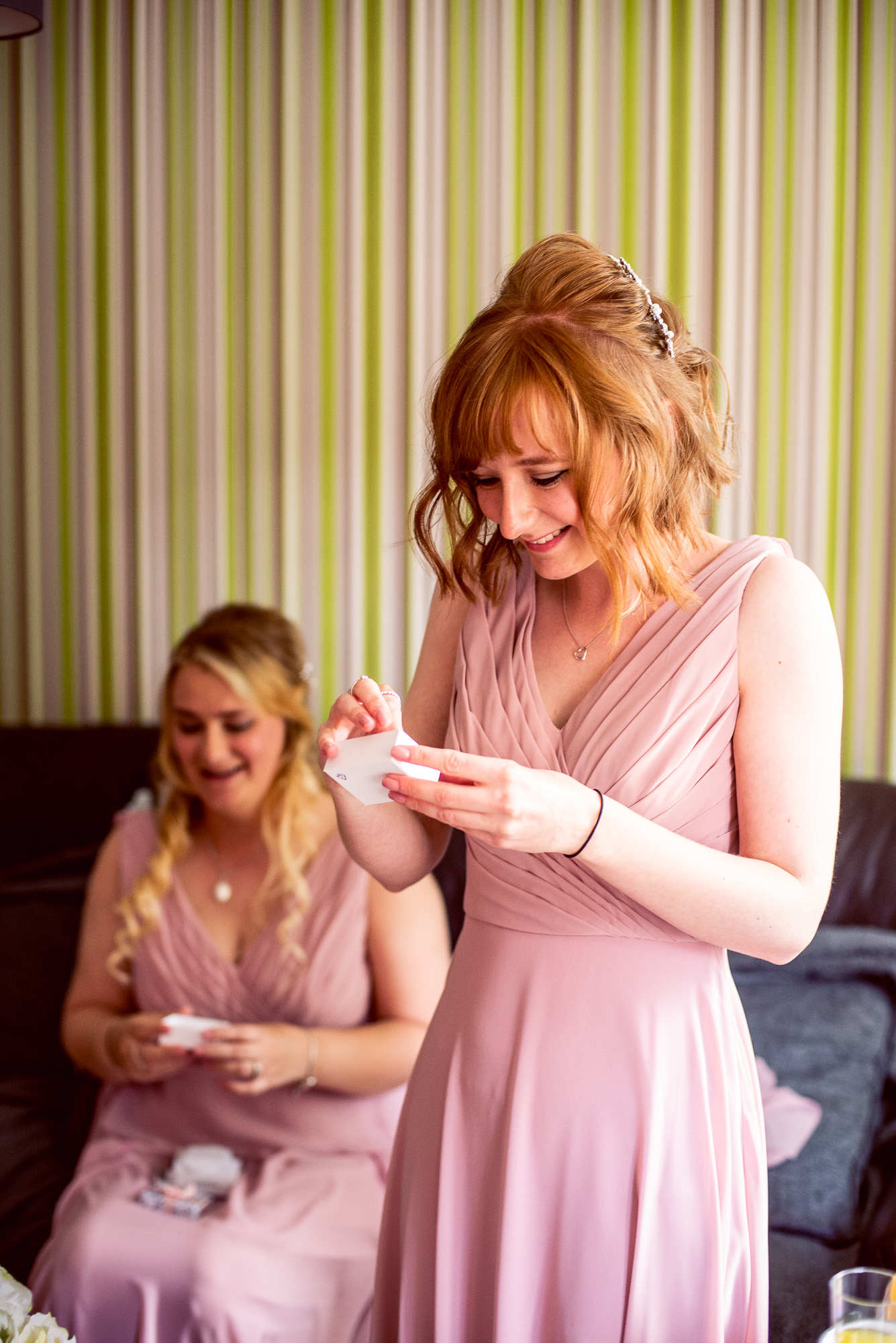 Carley gave presents to all her bridemaids. -