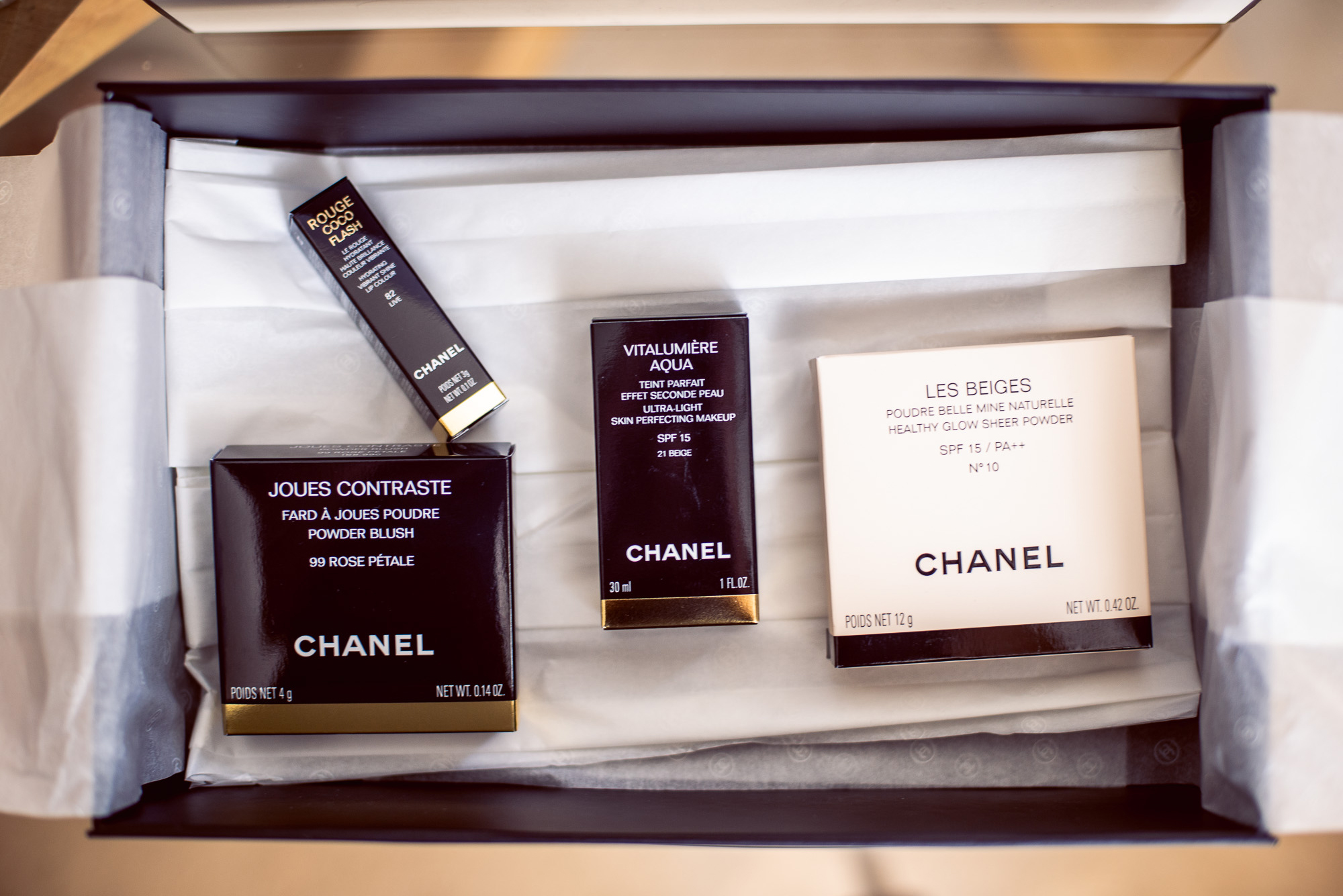 Carley treated herself to some Chanel make up. -