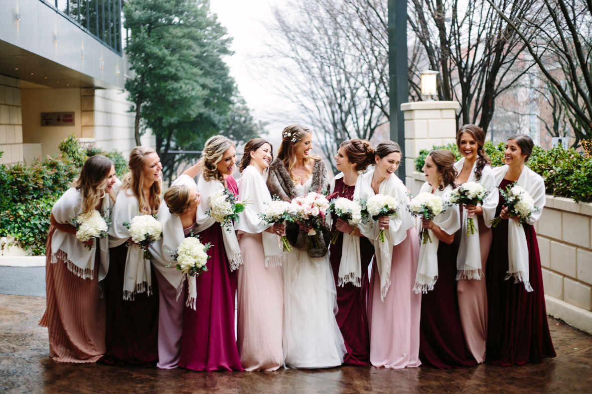 wedding, poses, outdoor, inspiration, bride, vibrant, colorful, winter, intimate, groom, light and airy, natural light, ideas, passion, unique, Knoxville, Tennessee, bridal party