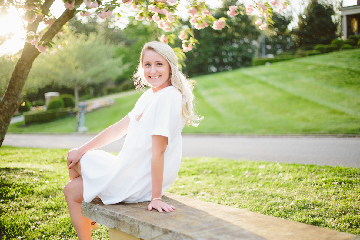 knoxville, Sequoyah hills, female, senior, portraits, graduate, university of Tennessee, Knoxville, poses, cherry blossoms, outfits, ideas, college, inspiration, natural light, light and airy, vibrant, colorful, bright, outdoors, head shots, sunset