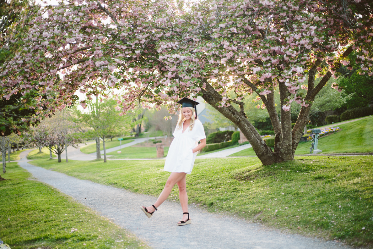 knoxville, Sequoyah hills, female, senior, portraits, graduate, university of Tennessee, Knoxville, poses, cherry blossoms, outfits, ideas, college, inspiration, natural light, light and airy, vibrant, colorful, bright, outdoors, head shots, sunset, cap