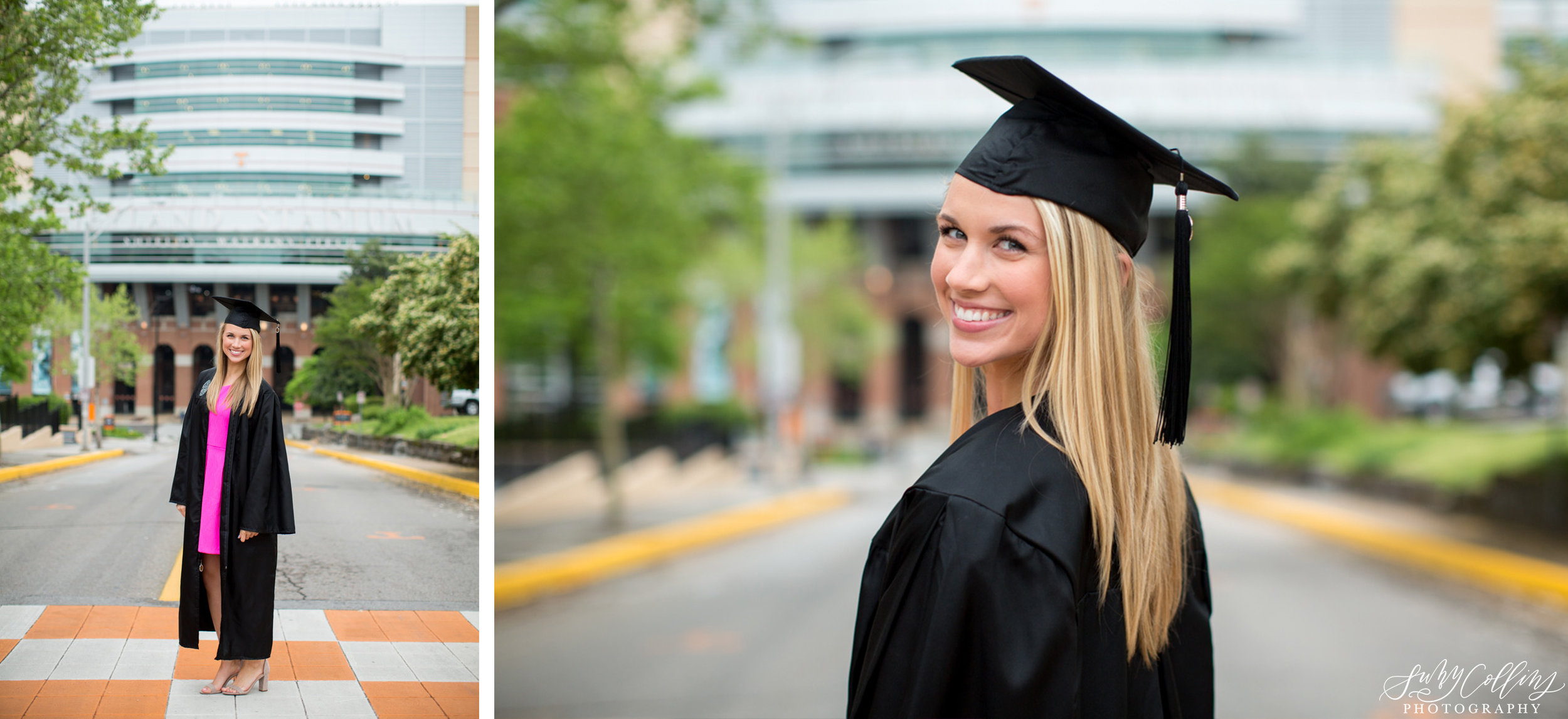 female, senior, portraits, graduate, university of Tennessee, Knoxville, poses, cherry blossoms, outfits, ideas, college, inspiration, natural light, light and airy, vibrant, colorful, bright, outdoors, head shots, sunset, volunteers, cap and gown