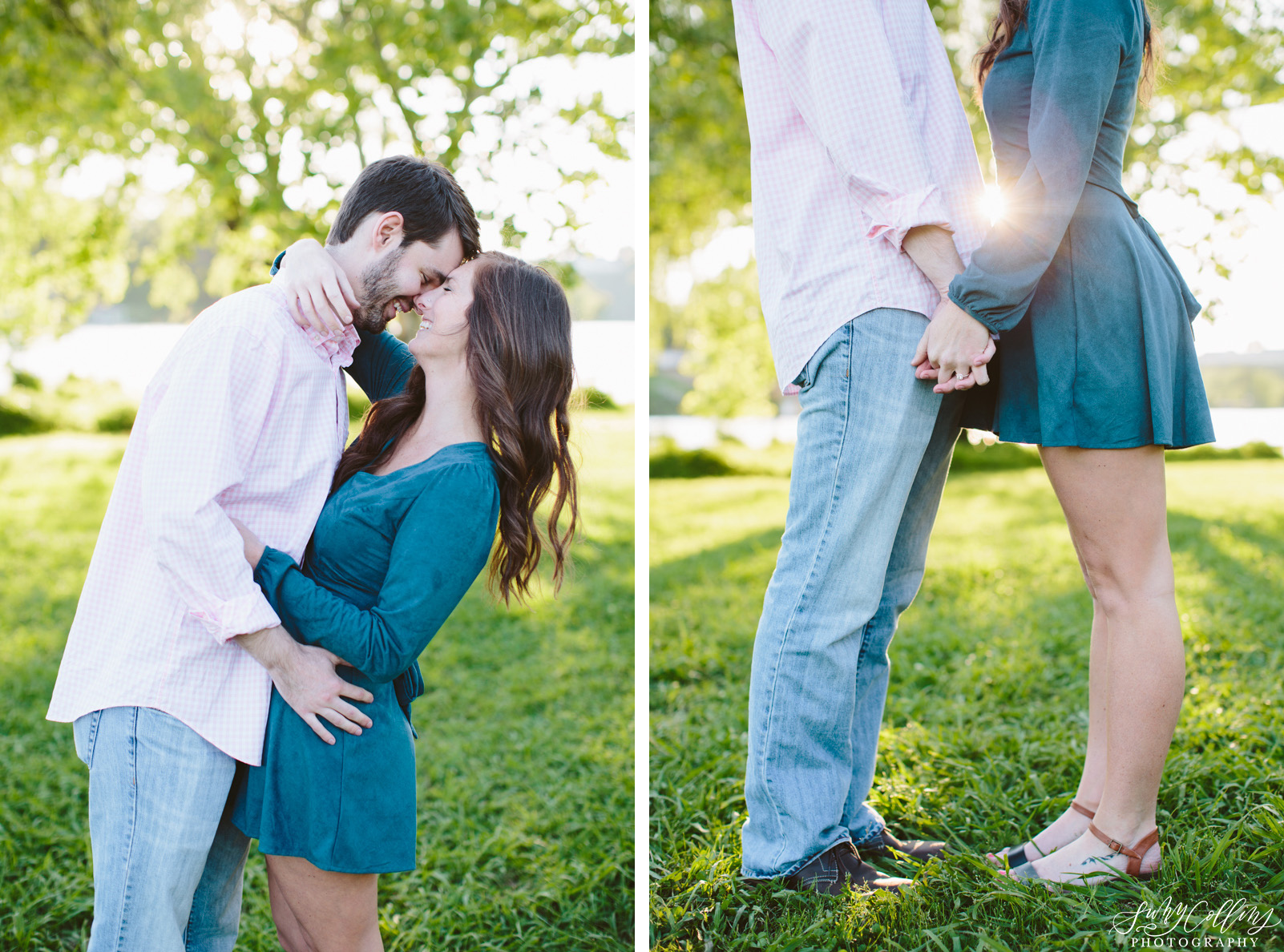 poses, couples, outdoor, Sequoyah hills, Knoxville, Tennessee, engagement, sunset, evening, love, vibrant, colorful, bright, creative, romantic, natural, light and airy, natural light, passion, inspiration, intimate, outfits