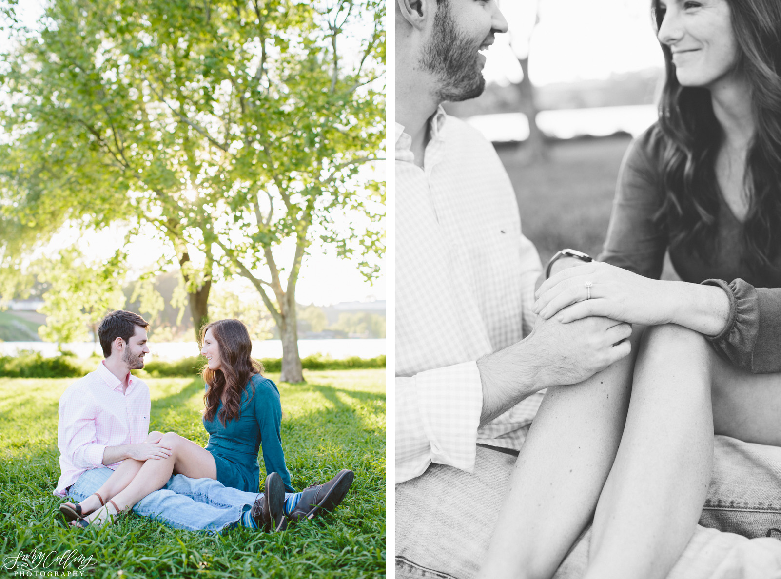 poses, couples, outdoor, Sequoyah hills, Knoxville, Tennessee, engagement, sunset, evening, love, vibrant, colorful, bright, creative, romantic, natural, light and airy, natural light, passion, inspiration, intimate, outfits, black and white