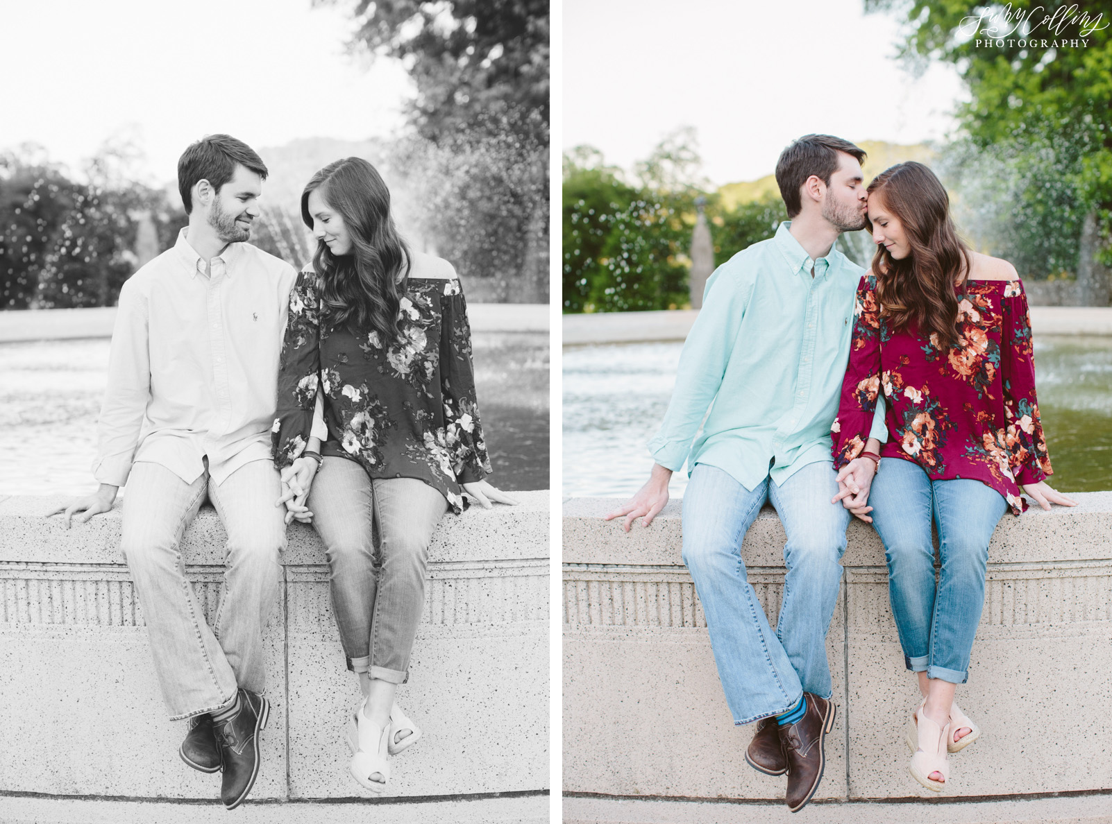 poses, couples, outdoor, Sequoyah hills, Knoxville, Tennessee, engagement, sunset, evening, love, vibrant, colorful, bright, creative, romantic, natural, light and airy, natural light, passion, inspiration, intimate, outfits, fountain, black and white