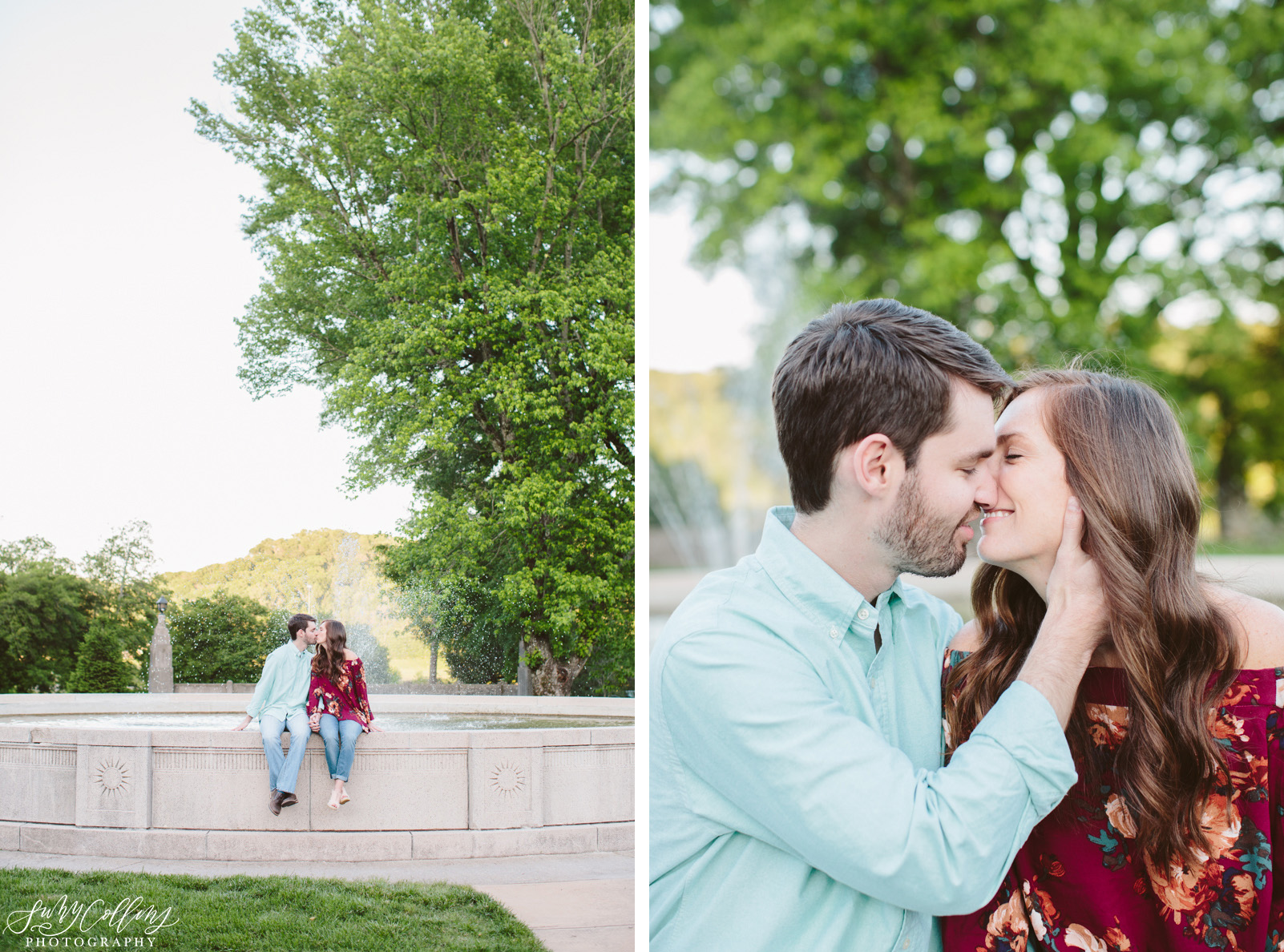 poses, couples, outdoor, Sequoyah hills, Knoxville, Tennessee, engagement, sunset, evening, love, vibrant, colorful, bright, creative, romantic, natural, light and airy, natural light, passion, inspiration, intimate, outfits, fountain, kiss