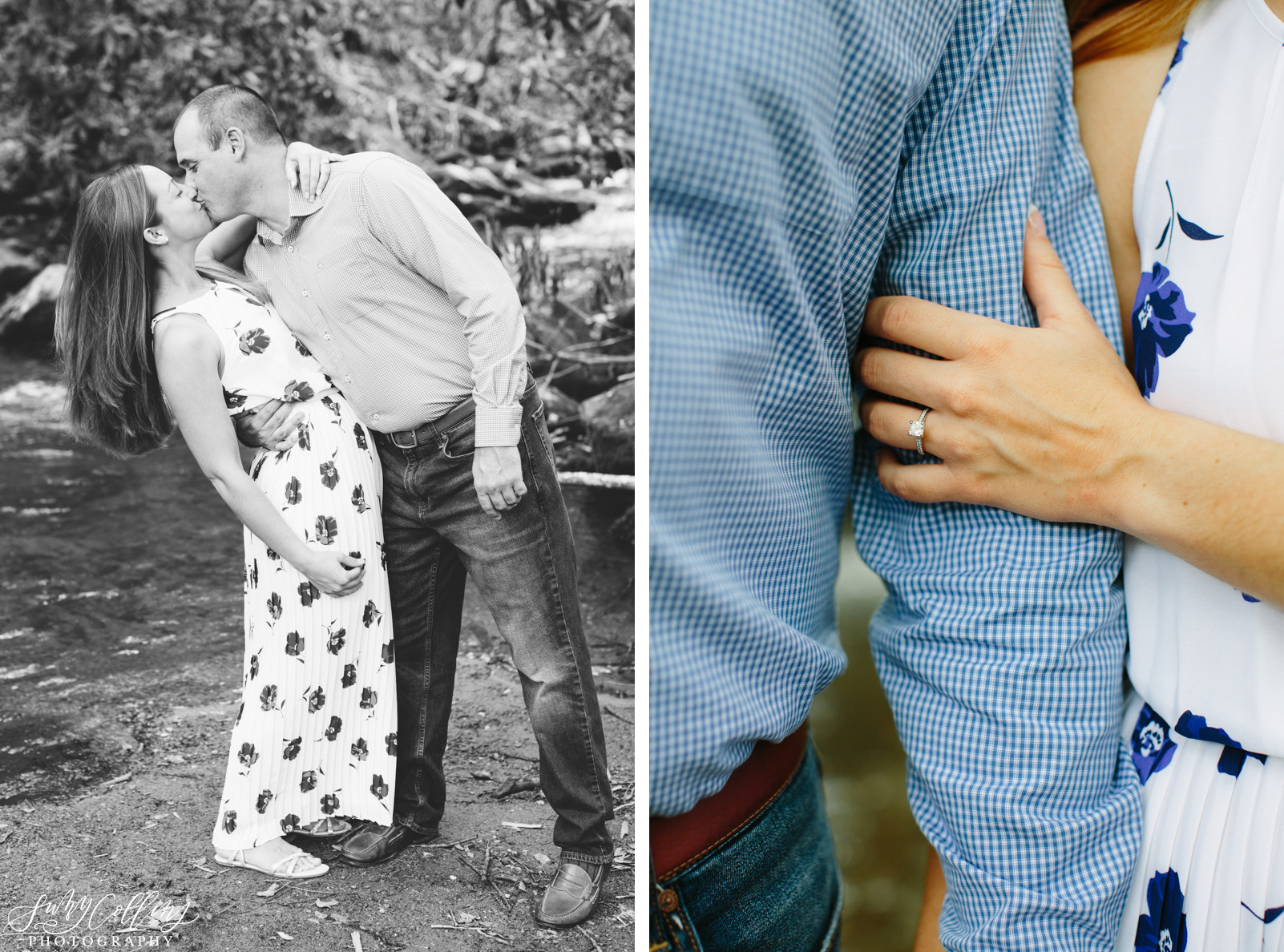 poses, couples, outdoor, Mynatt park, Knoxville, Tennessee, engagement, sunset, evening, love, vibrant, colorful, bright, creative, romantic, natural, light and airy, natural light, passion, inspiration, intimate, outfits, fountain, woods, river, park, black and white, ring, hands