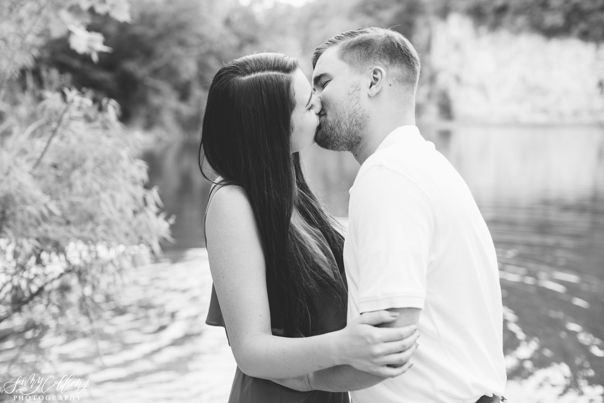 poses, couples, outdoor, meads quarry, Knoxville, Tennessee, engagement, sunset, evening, love, vibrant, colorful, bright, creative, romantic, natural, light and airy, natural light, passion, inspiration, intimate, outfits, fountain, woods, pond, park, kiss, black and white