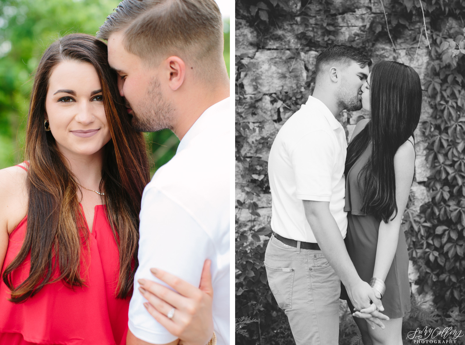 poses, couples, outdoor, meads quarry, Knoxville, Tennessee, engagement, sunset, evening, love, vibrant, colorful, bright, creative, romantic, natural, light and airy, natural light, passion, inspiration, intimate, outfits, fountain, woods, pond, park, black and white, kiss