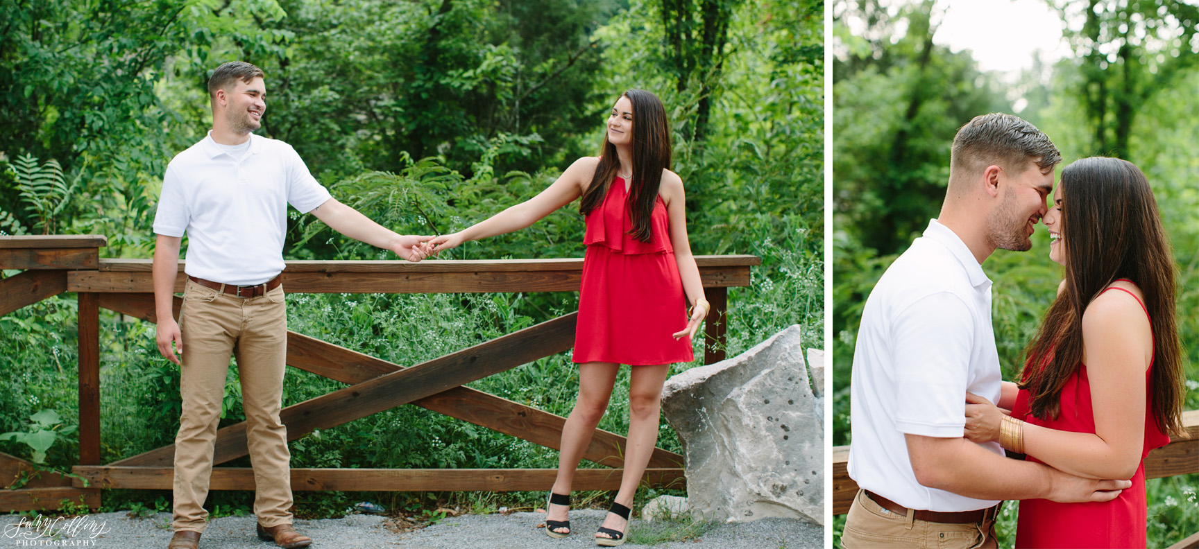 poses, couples, outdoor, meads quarry, Knoxville, Tennessee, engagement, sunset, evening, love, vibrant, colorful, bright, creative, romantic, natural, light and airy, natural light, passion, inspiration, intimate, outfits, fountain, woods, pond, park
