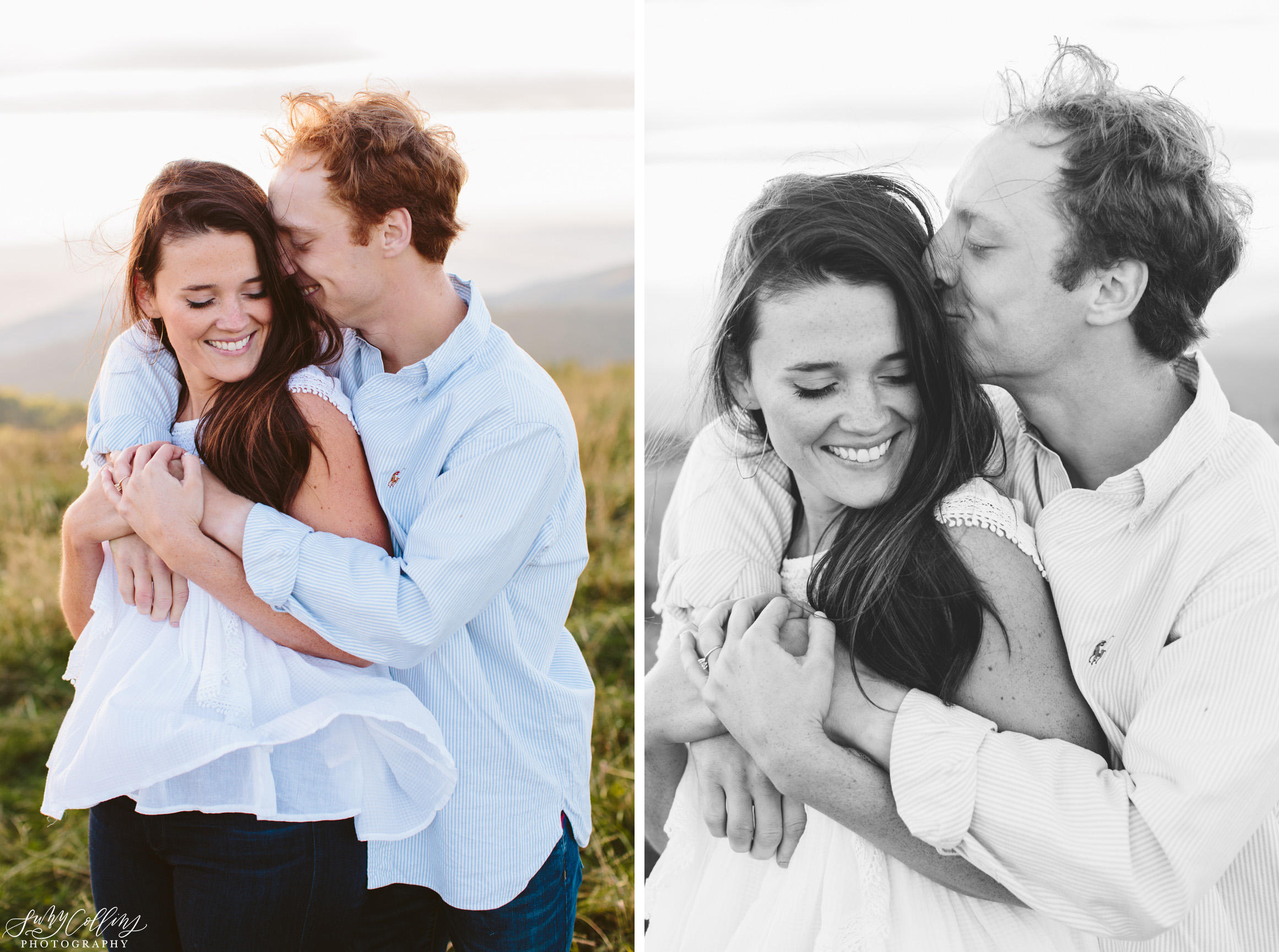 poses, couples, outdoor, max patch, Knoxville, Tennessee, engagement, sunset, evening, love, vibrant, colorful, bright, creative, romantic, natural, light and airy, natural light, passion, inspiration, intimate, outfits, fountain, woods, field, sunrise, windy, North Carolina, black and white