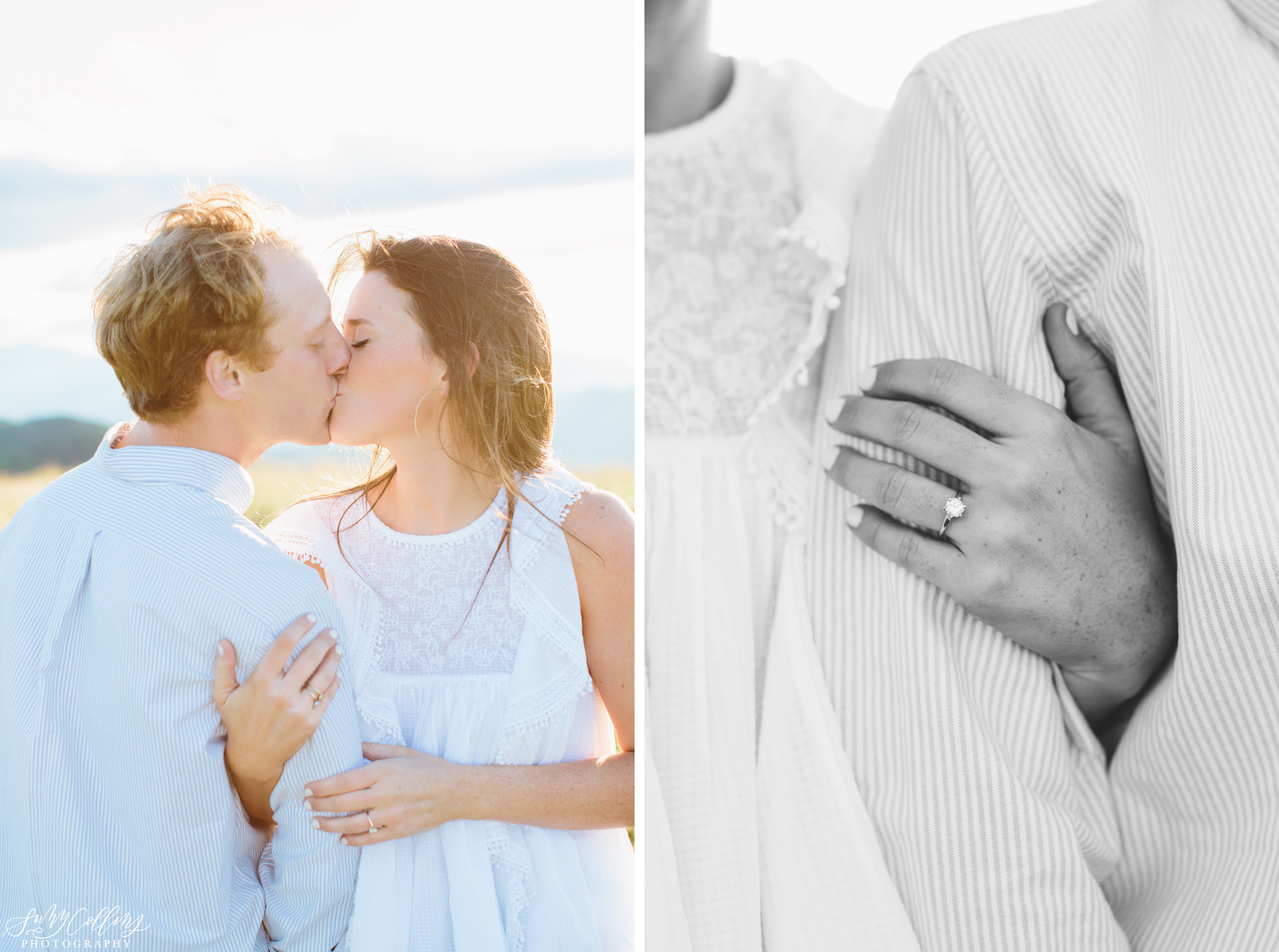 poses, couples, outdoor, max patch, Knoxville, Tennessee, engagement, sunset, evening, love, vibrant, colorful, bright, creative, romantic, natural, light and airy, natural light, passion, inspiration, intimate, outfits, fountain, woods, field, sunrise, windy, North Carolina, rings kiss, black and white