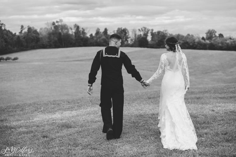 Fall Vineyard Wedding Black and White