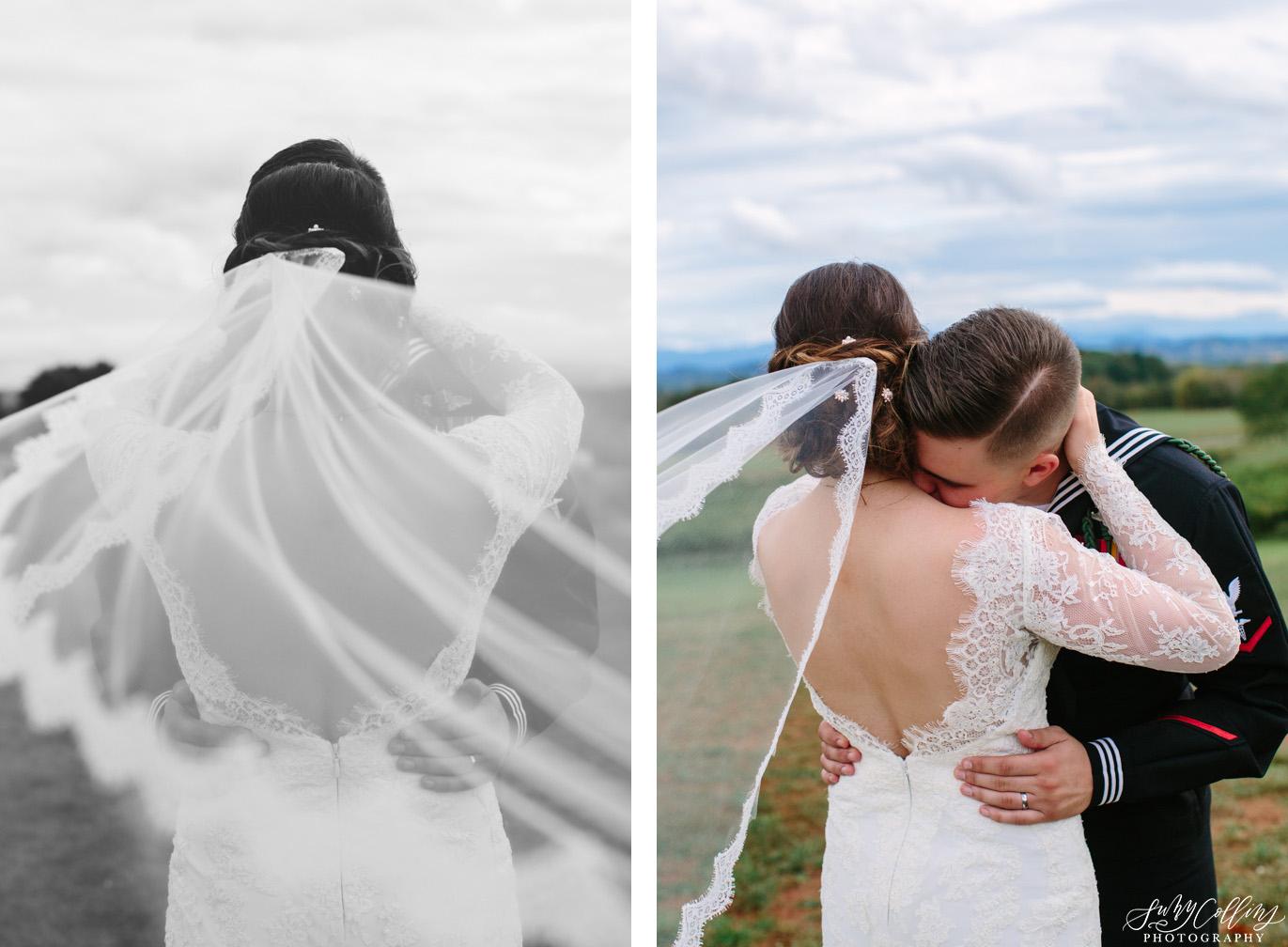 Veil Details Fall Vineyard Wedding
