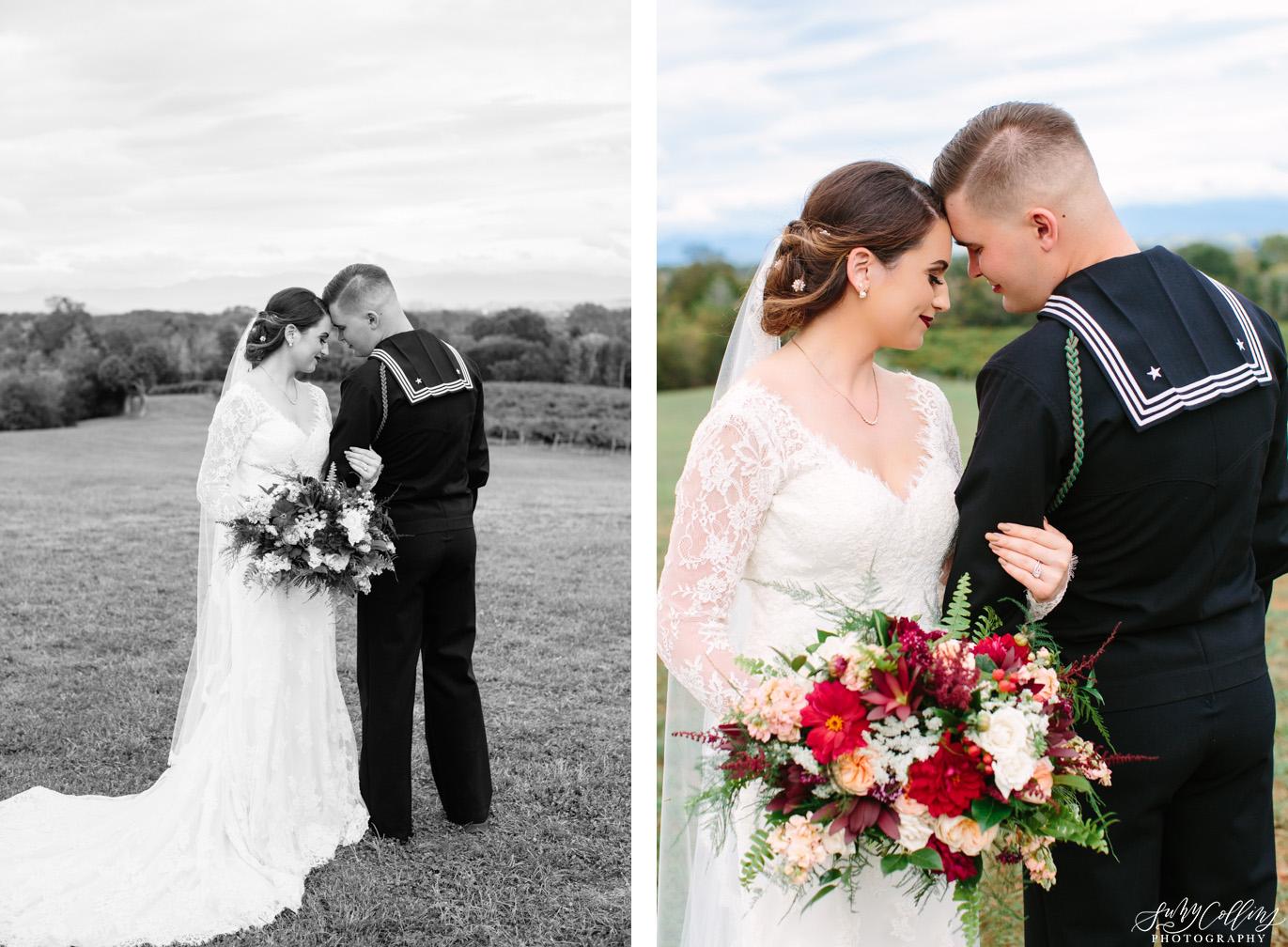Wedding Couple Portraits Fall Vineyard Wedding