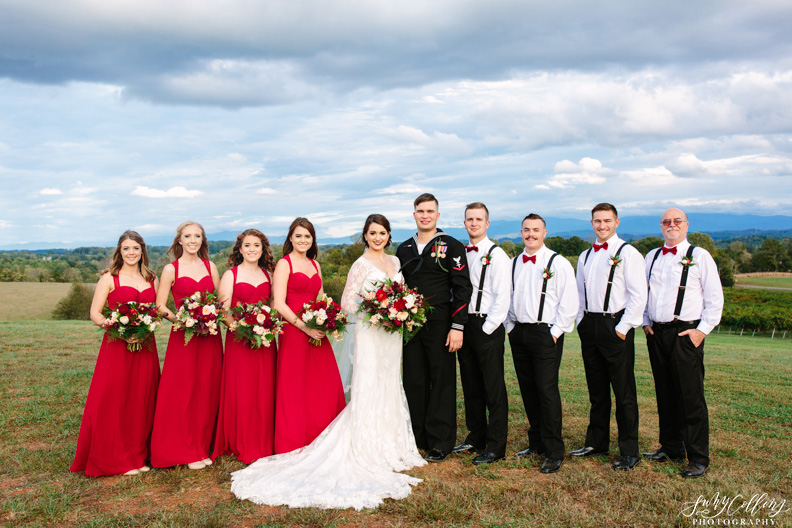 Red Bridal Party Fall Vineyard Mountain Wedding