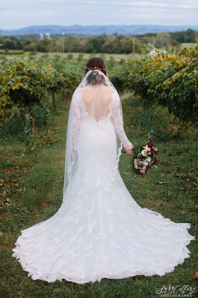 Bridal Portrait Fall Vineyard Mountain Wedding