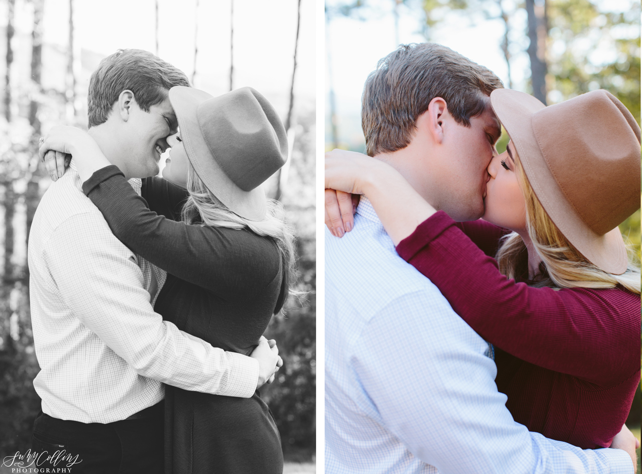 Fall Woods Engagement Kiss