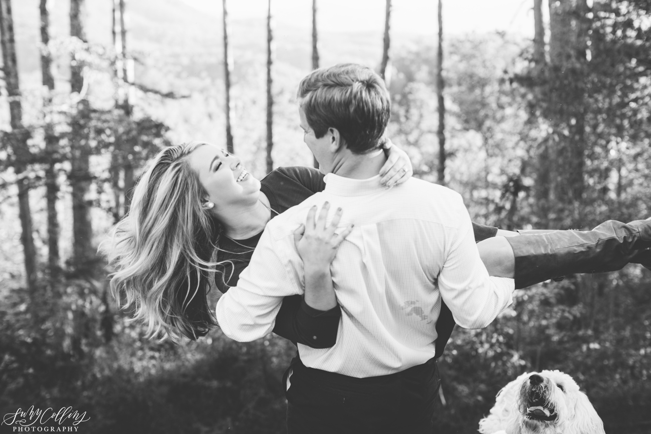 Fall Woods Engagement Black & White