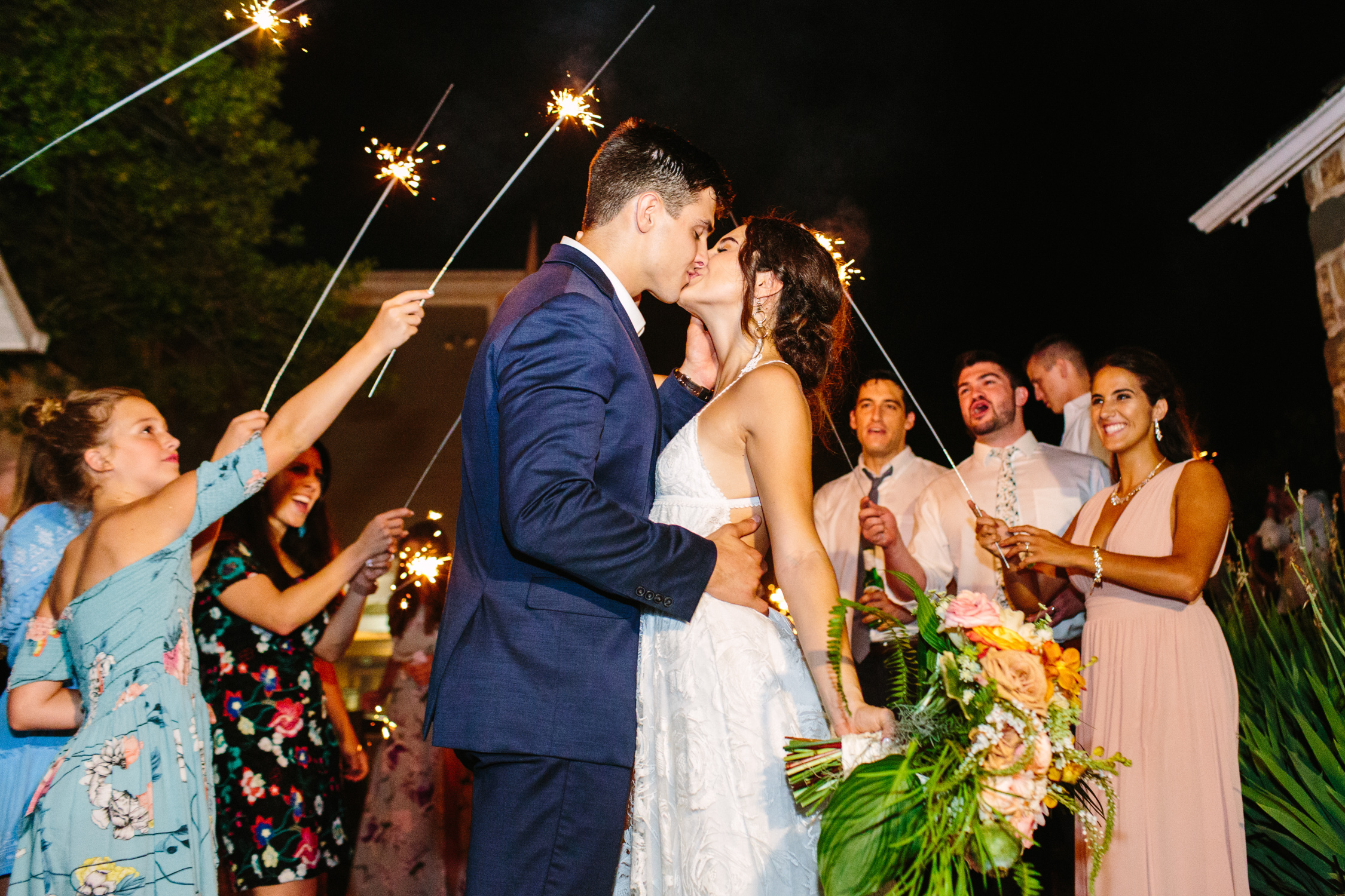 Knoxville Photographer Modern Bohemian Wedding Sparkler Exit