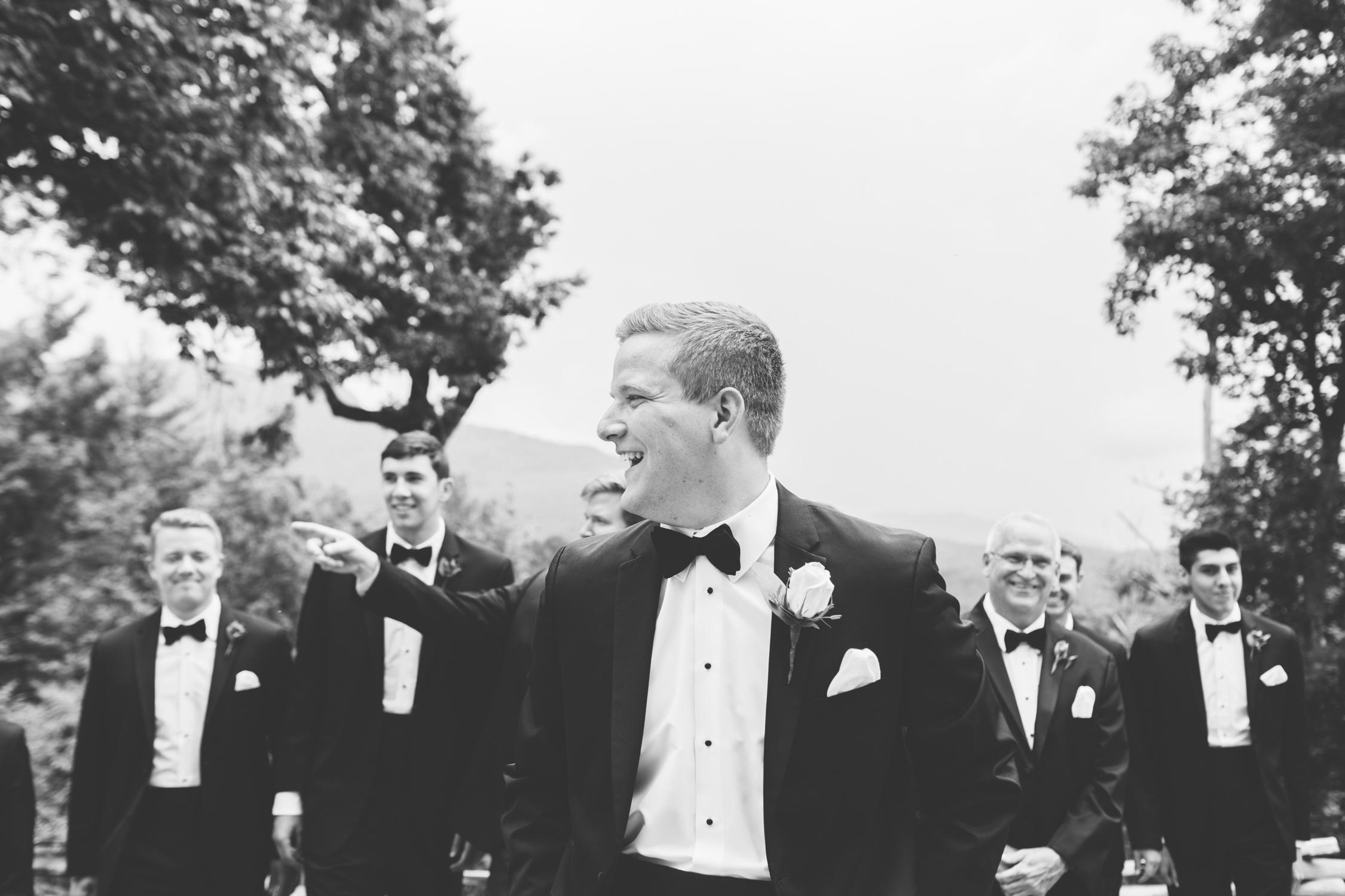 Knoxville Photographer Classic Outdoor Wedding Groomsmen Black & White