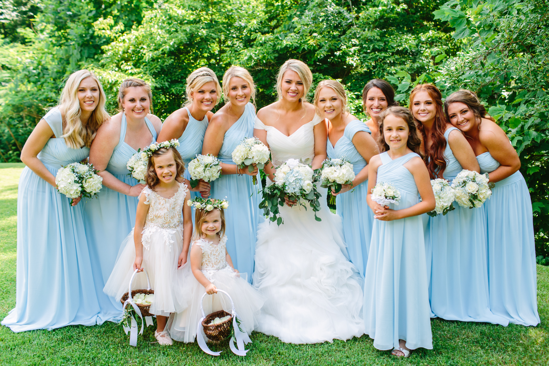 Knoxville Photographer Classic Outdoor Wedding Blue Bridesmaid Dresses