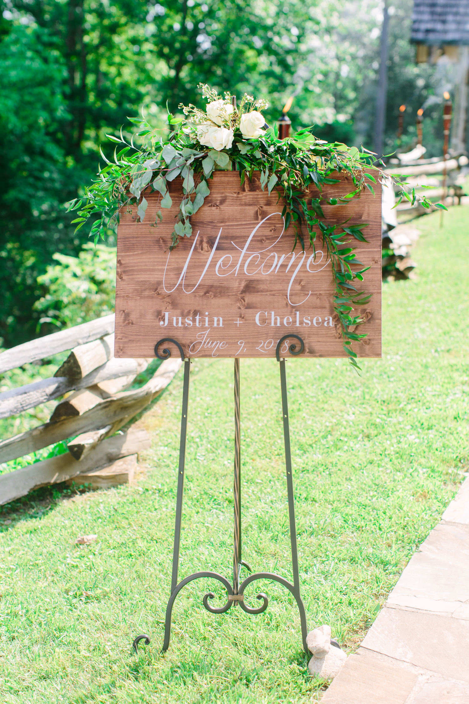 Knoxville Photographer Classic Outdoor Wedding Sign Calligraphy