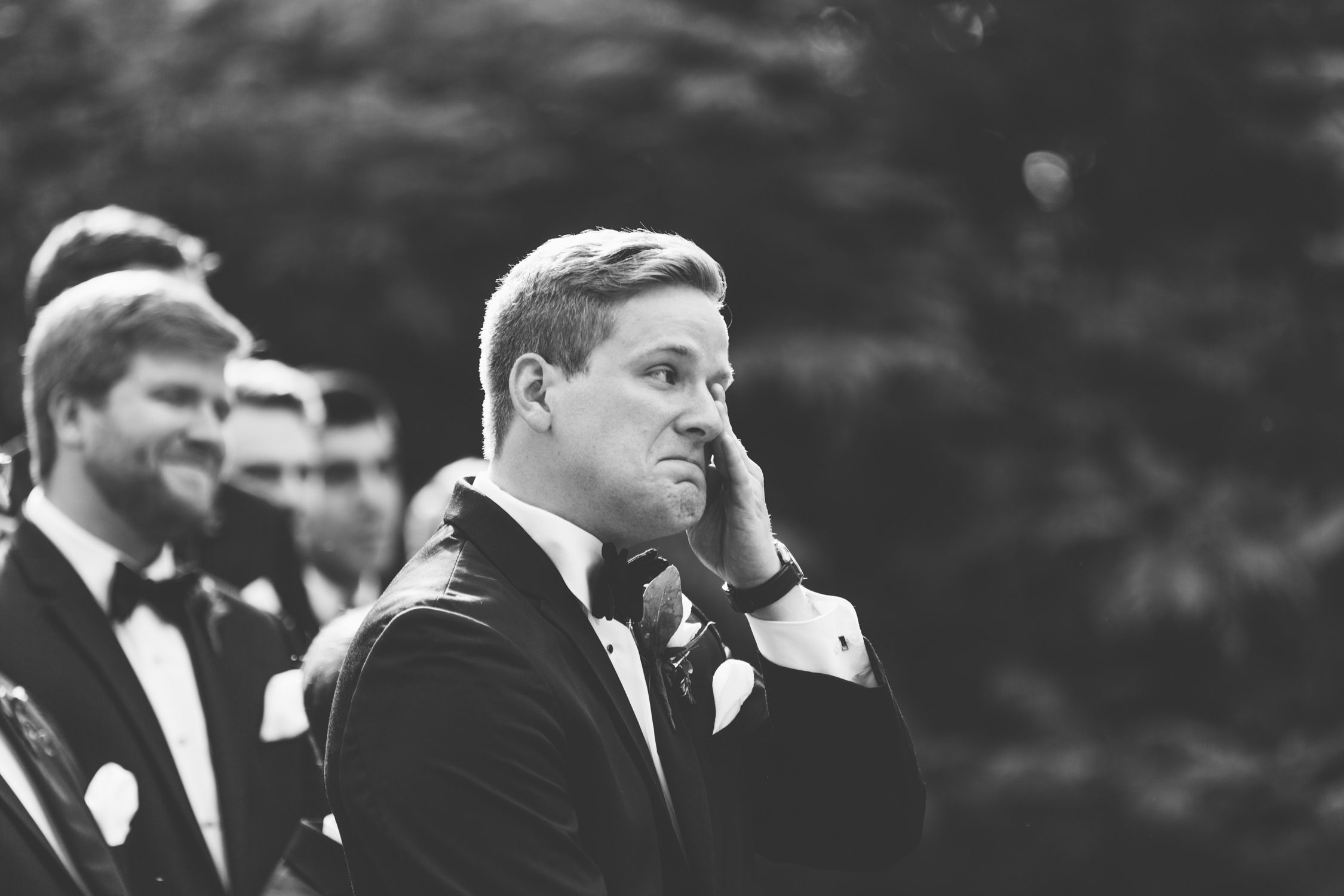 Knoxville Photographer Classic Outdoor Wedding Groom Reaction