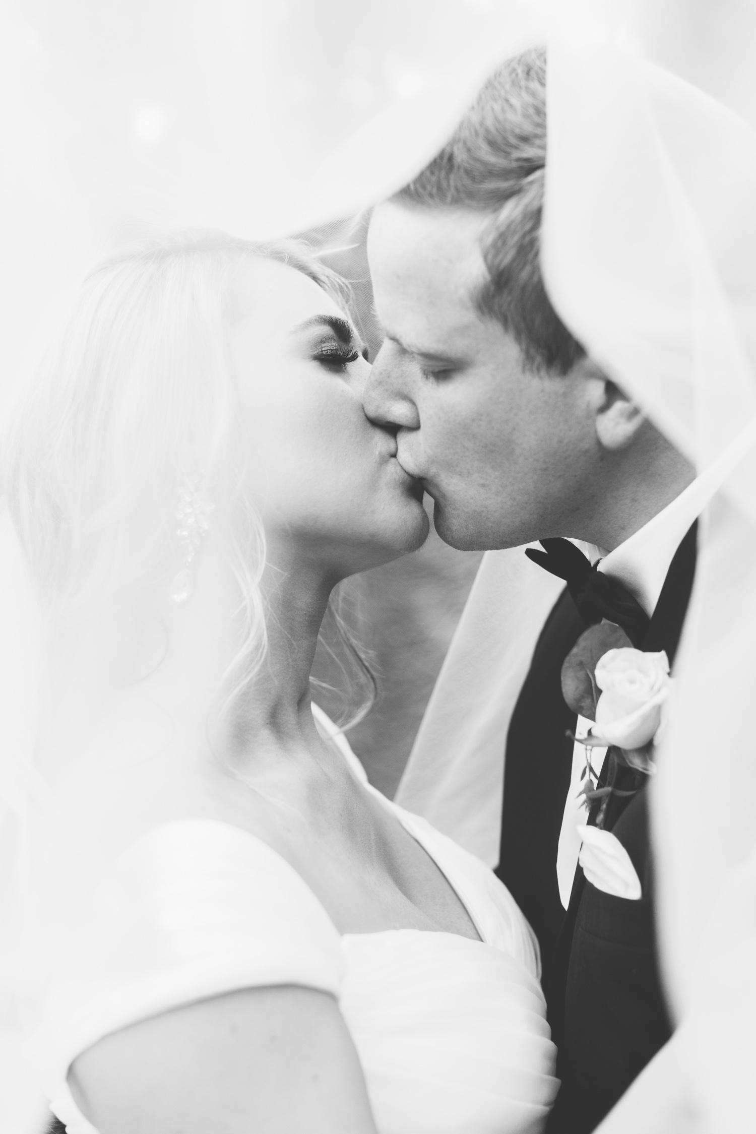 Knoxville Photographer Classic Outdoor Wedding Kiss Veil