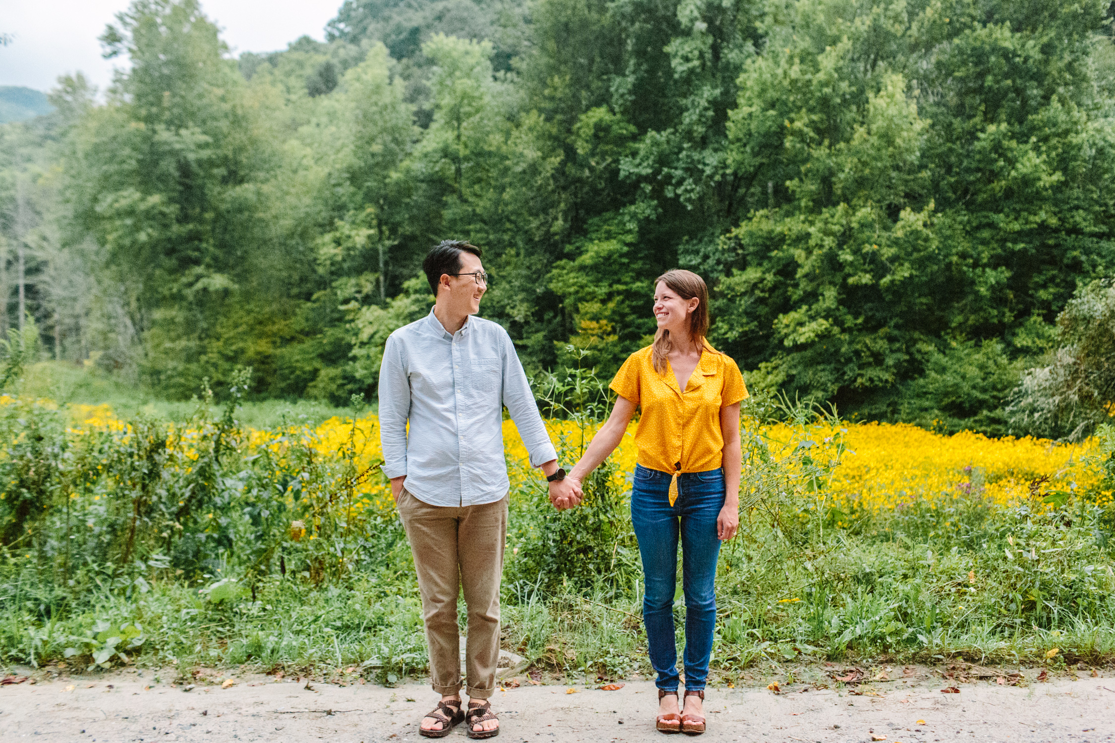 Wildflower Field Engagement Photos Max Patch // Suzy Collins Photography